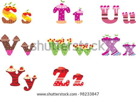 Sweet letters of the alphabet. vector - stock vector