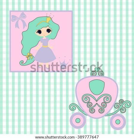 sweet little Princess  announcement  baby shower, fairytale Cartoon Illustration carriage Princess, vintage baby stroller invitation or card birthday, vector background illustration - stock vector