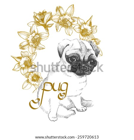 Sweet little pug with daffodils wreath, small faithful dog missing his master, vector design - stock vector