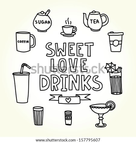 Sweet love drinks menu isolated vector objects - stock vector