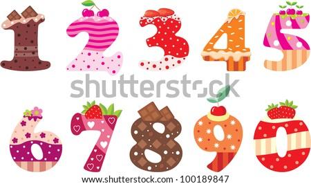 Sweet numbers. vector - stock vector