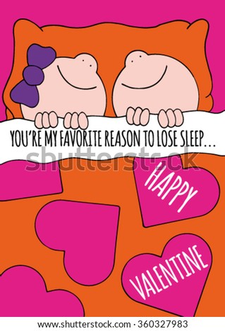 Sweet original Valentines Day greeting card with happy smiling boy and girl lying in a bed covered with an orange sheet with big pink hearts. Funny text. Hand drawn stock vector.  - stock vector