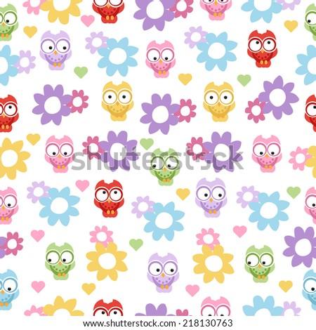 sweet owl seamless pattern - stock vector