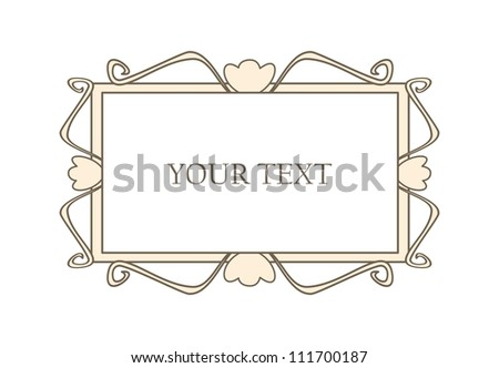 Sweet pastel retro art deco frame. Vector illustration isolated on white background with empty space to put picture or text - stock vector