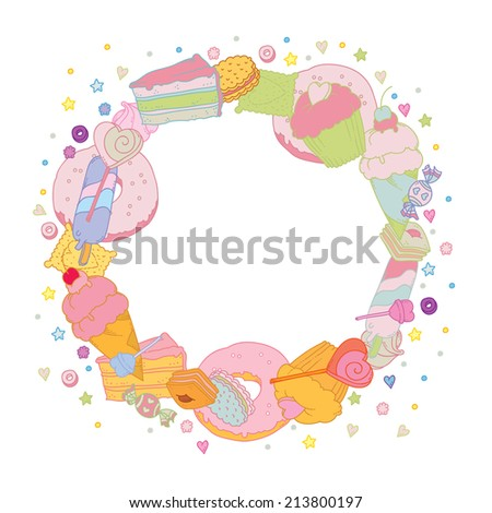 Sweet Round Frame with colorful muffin candies cookies - vector illustration for invitation cards, flyers, celebration cards and so on. - stock vector