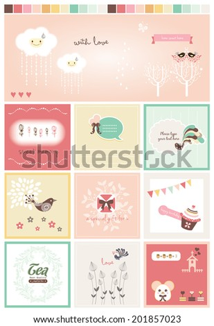Sweet Scrapbook Collection 4 - stock vector