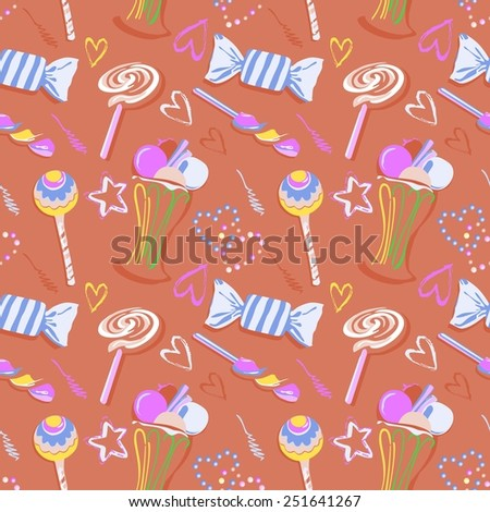 Sweet seamless pattern. seamless pattern of hearts in candy style - stock vector
