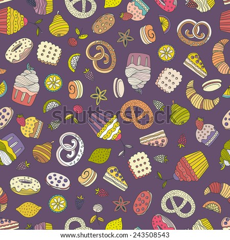 Sweet seamless pattern with different desserts: cupcake, ice cream, pie, fruits. Doodle style hand drawn vector background. Restaurant menu or tea party background.  - stock vector
