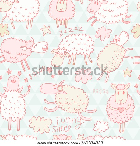Sweet sheep in the sky - childish background in vector - stock vector