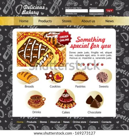 Sweet Shop, bakery and patisserie website design vector template on the blackboard - stock vector