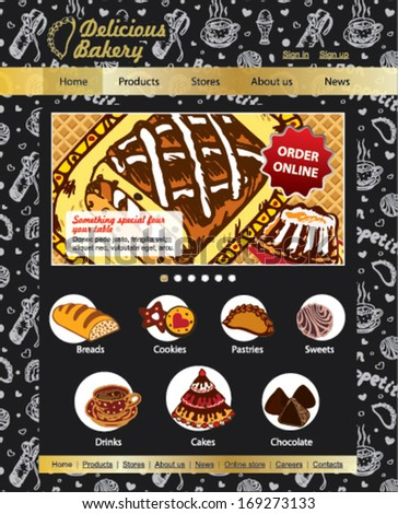 Sweet Shop, bakery and patisserie website vector template on the dark background - stock vector