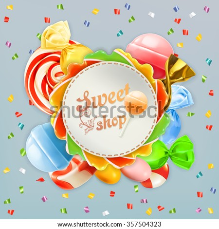 Sweet shop candy vector label - stock vector