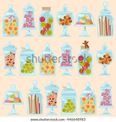 Sweet shop. Glass jars of various forms with different candies. Seamless background pattern. Vector illustration - stock vector