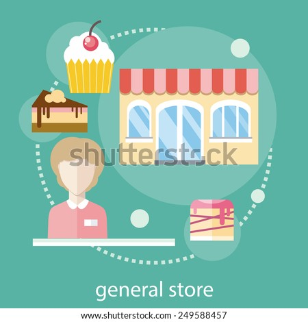 Sweet store concept in flat design with seller near chocolate muffins donuts cakes and candies - stock vector