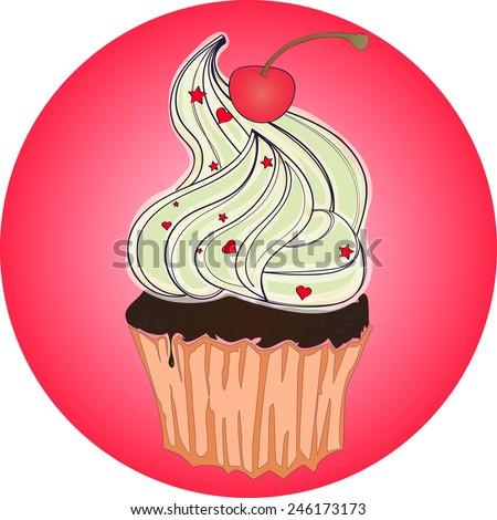 Sweet tasty dessert cupcake on cafe retro poster american symbol - stock vector