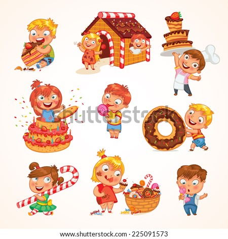 Sweet tooth. Cute toddler boy eating ice-cream. Boy soiled himself cake. Pastry chef brings sweetness. Pretty girl jump out of a large birthday cake. Gingerbread house. Funny cartoon character. Set - stock vector