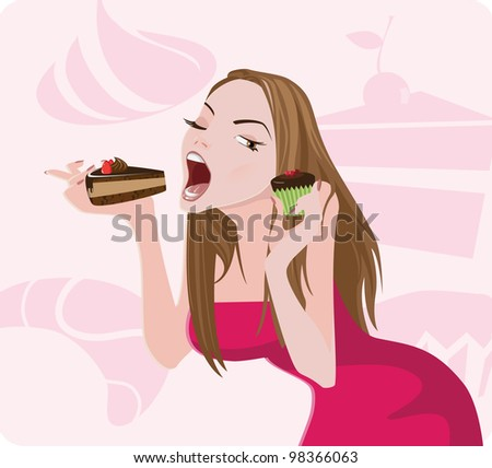 Sweet tooth lady - stock vector