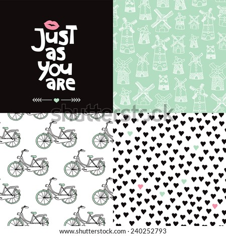 Sweet valentine postcard cover design and seamless hearts bike and dutch windmill background pattern set in vector - stock vector