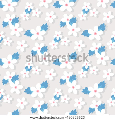 Sweet vector pattern with small flower. Small cute white flowers on a grey background. - stock vector