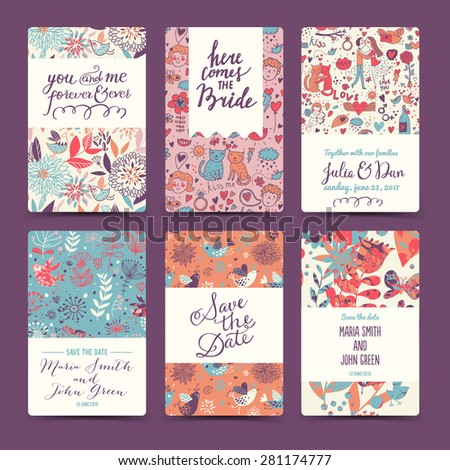 Sweet wedding romantic collection with 6 awesome cards made of hearts, flowers, couple of lovers, cats, wreaths, butterflies and birds. Lovely save the date invitation cards in vector. - stock vector