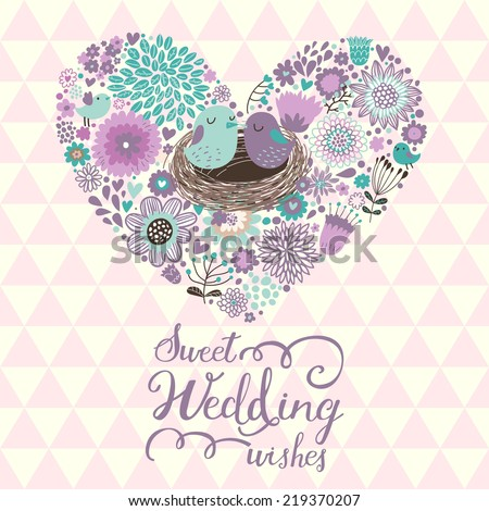 Sweet wedding wishes. Stylish Save the Date card in vector. Cartoon birds in love on stylish heart made of flowers - stock vector