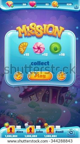 Sweet world mobile game user interface GUI mission collect - stock vector