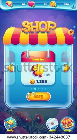 Sweet world mobile GUI shop screen video web games - stock vector