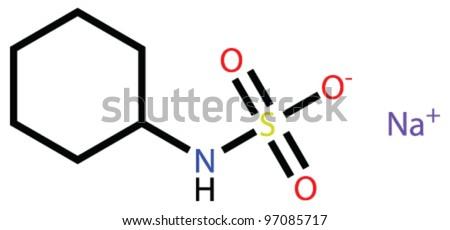 Sweetener sodium cyclamate structural formula - stock vector