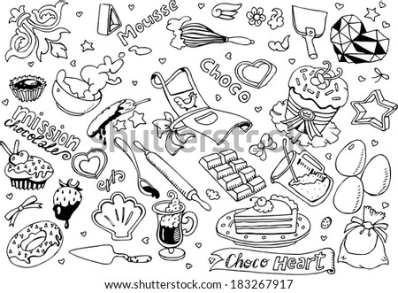 SweetHeart Collection Black&White (EPS10 Vector) - stock vector