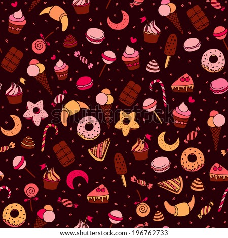 Sweets and baking dessets hand drawn seamless patten - stock vector