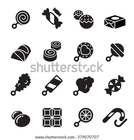 Sweets and candies icons - stock vector