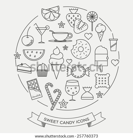 Sweets and candy minimal line icons in a set - stock vector