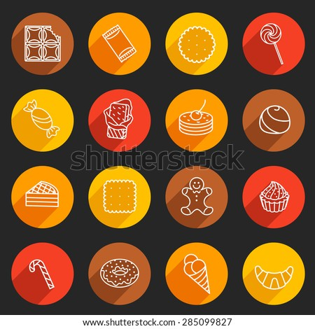 Sweets and confectionery. Set of Outline Icons. Smartly grouped.  - stock vector