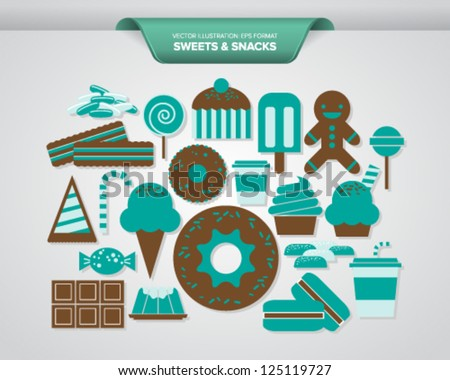 Sweets and Snacks Icons - stock vector