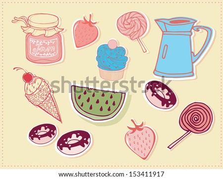 Sweets Badge Set - stock vector