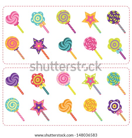 Sweets Candy and Lollipop set - stock vector