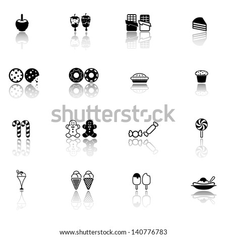 Sweets, candy, dessert icon set - stock vector