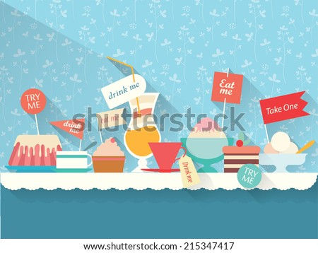 Sweets, dessert, drinks on the table - stock vector