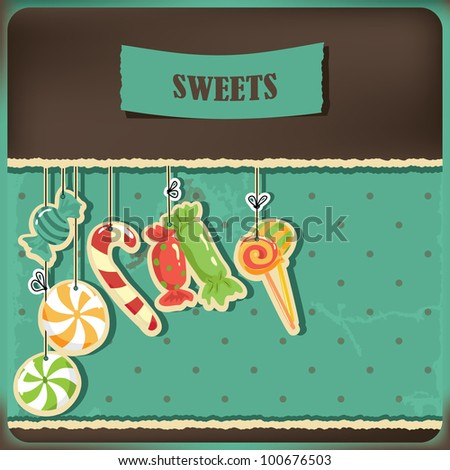 Sweets on strings. Vintage polka dots background. Vector illustration. - stock vector