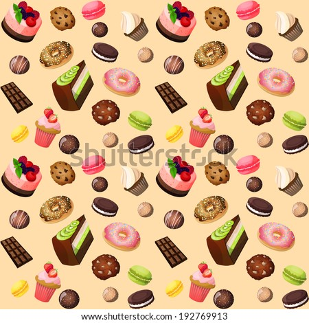 Sweets seamless background of cakes chocolate biscuits macaron donut vector illustration - stock vector