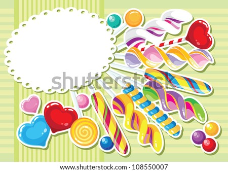 sweets sticker background - stock vector