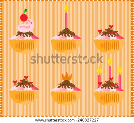Sweets with candles on bright striped background - stock vector