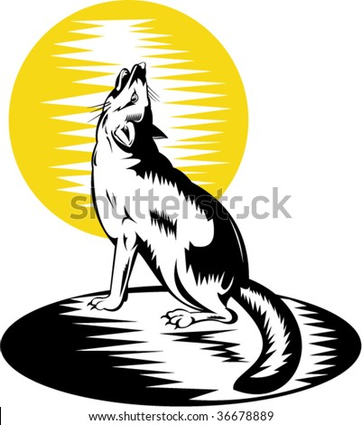 Swift fox or wolf howling at the moon - stock vector