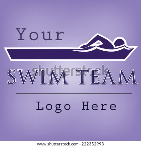 Swim team logo template with swimmer doing freestyle stroke - stock vector