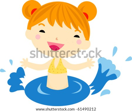 Swimming girl - stock vector