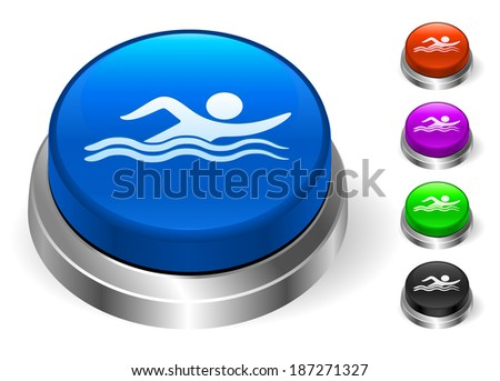 Swimming Icons on Round Button Collection - stock vector