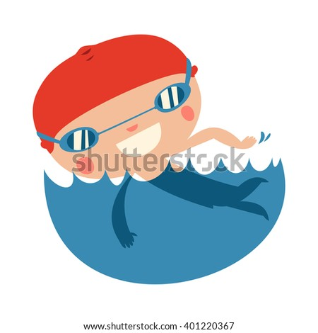 swimming kid character. cute kid isolated. - stock vector