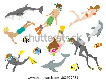 Swimming people and Marine life set - stock vector