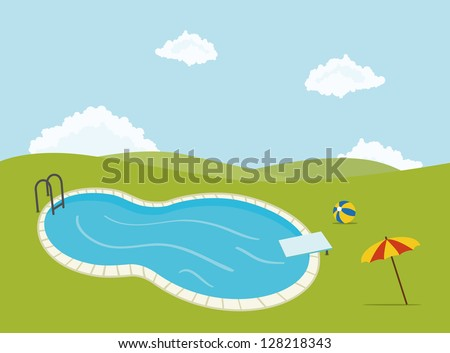 swimming pool for parties, with umbrella and ball - stock vector
