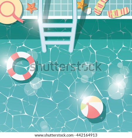Swimming pool side, top view, summer time holiday vacation, clear water with beach items, vector illustration - stock vector